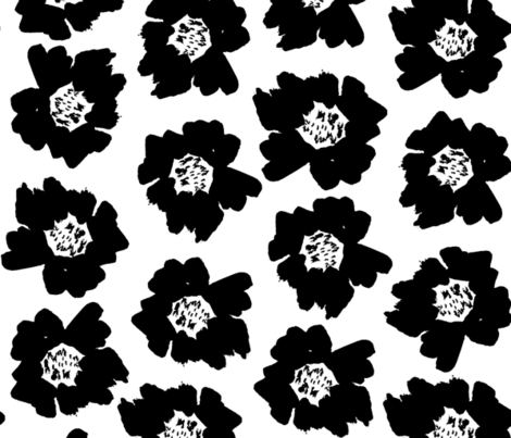 "4"" Flower pop - floral pop fabric, floral fabric, bright bold fabric, floral wallpaper, retro wallpaper, large curtain fabric, mod wallpaper, large scale wallpaper, scandi retro florals, retro floral wallpaper, - bw fabric by charlottewinter on Spoonflower - custom fabric"