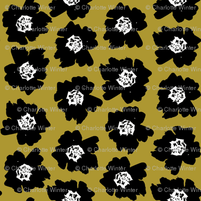 """7"""" Flower pop - floral pop fabric, floral fabric, bright bold fabric, floral wallpaper, retro wallpaper, large curtain fabric, mod wallpaper, large scale wallpaper, scandi retro florals, retro floral wallpaper, - yellow"""