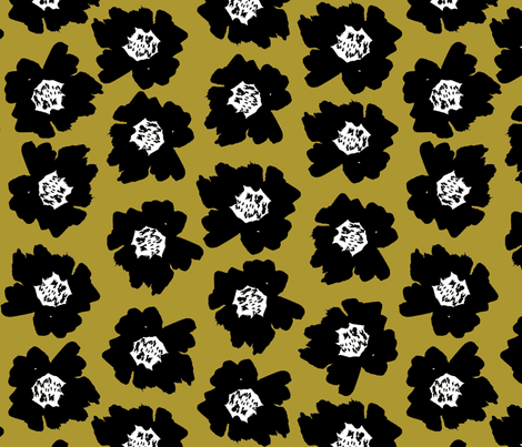 """7"""" Flower pop - floral pop fabric, floral fabric, bright bold fabric, floral wallpaper, retro wallpaper, large curtain fabric, mod wallpaper, large scale wallpaper, scandi retro florals, retro floral wallpaper, - yellow fabric by charlottewinter on Spoonflower - custom fabric"""