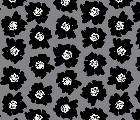 """7"""" Flower pop - floral pop fabric, floral fabric, bright bold fabric, floral wallpaper, retro wallpaper, large curtain fabric, mod wallpaper, large scale wallpaper, scandi retro florals, retro floral wallpaper, -grey fabric by charlottewinter on Spoonflower - custom fabric"""