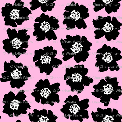"""7"""" Flower pop - floral pop fabric, floral fabric, bright bold fabric, floral wallpaper, retro wallpaper, large curtain fabric, mod wallpaper, large scale wallpaper, scandi retro florals, retro floral wallpaper, -pink"""