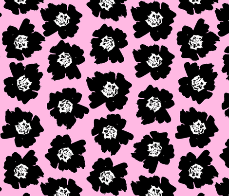 """7"""" Flower pop - floral pop fabric, floral fabric, bright bold fabric, floral wallpaper, retro wallpaper, large curtain fabric, mod wallpaper, large scale wallpaper, scandi retro florals, retro floral wallpaper, -pink fabric by charlottewinter on Spoonflower - custom fabric"""