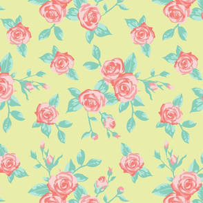 Rosey Roses - Pale Yellow