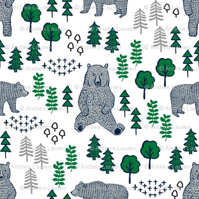 Woodland Bear Fabric Bear Wallpaper Nursery Wallpaper Cute Bear