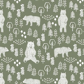 woodland bear fabric, bear wallpaper, nursery wallpaper, cute bear wallpaper, bear design, nursery fabric by the yard, nursery fabric, andrea lauren fabric - olive