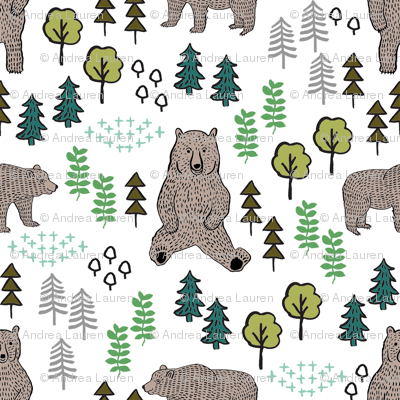 woodland bear fabric, bear wallpaper, nursery wallpaper, cute bear wallpaper, bear design, nursery fabric by the yard, nursery fabric, andrea lauren fabric - multi