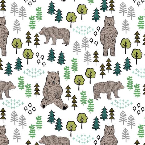 woodland bear fabric, bear wallpaper, nursery wallpaper, cute bear wallpaper, bear design, nursery fabric by the yard, nursery fabric, andrea lauren fabric - multi fabric by andrea_lauren on Spoonflower - custom fabric