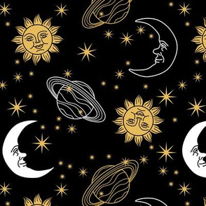 Sun, Moon, & Stars - Black
