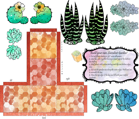DIY Stuffed Succulents Garden Box fabric by elise_marie_textiles on Spoonflower - custom fabric