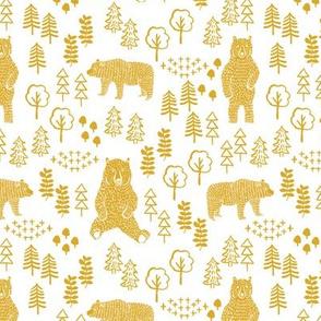 woodland bear fabric, bear wallpaper, nursery wallpaper, cute bear wallpaper, bear design, nursery fabric by the yard, nursery fabric, andrea lauren fabric -mustard