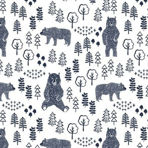 woodland bear fabric, bear wallpaper, nursery wallpaper, cute bear wallpaper, bear design, nursery fabric by the yard, nursery fabric, andrea lauren fabric -navy