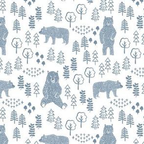 woodland bear fabric, bear wallpaper, nursery wallpaper, cute bear wallpaper, bear design, nursery fabric by the yard, nursery fabric, andrea lauren fabric - blue
