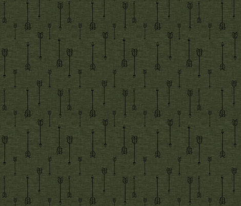 Arrows on Linen - Hunter Green fabric by sugarpinedesign on Spoonflower - custom fabric