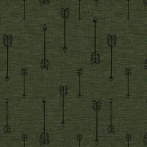 Arrows on Linen - Hunter Green