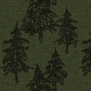 Evergreen Trees on Linen - Hunter green
