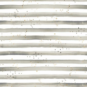 Watercolor Stripe + Gold Dots - gray