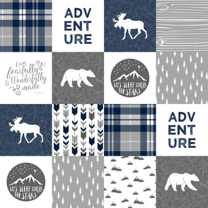 Navy and Grey Fearfully and Wonderfully Made / Adventure   - Patchwork woodland quilt top C18BS