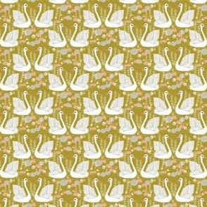MINI - swan fabric // mustard olive yellow swans birds pastel girls sweet bird swan print
