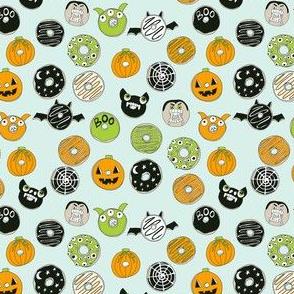MINI - halloween donut fabric  // fall autumn food cute spooky scary halloween design by andrea lauren - mint