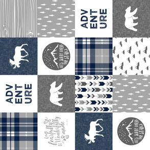 Navy and Grey Fearfully and Wonderfully Made / Adventure   - Patchwork woodland quilt top  (90) C18BS