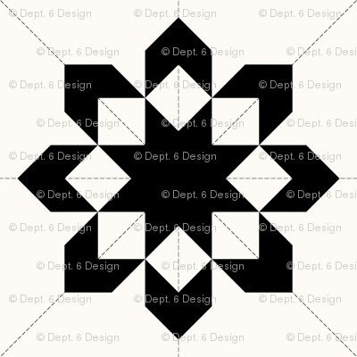 West Virginia Star Graphic Quilt: Black & Cream Cheater Quilt