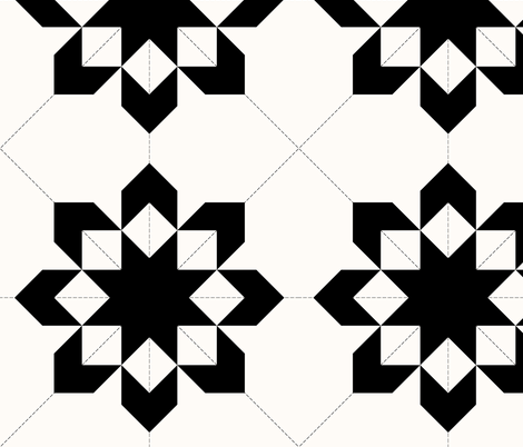 West Virginia Star Graphic Quilt: Black & Cream Cheater Quilt fabric by dept_6 on Spoonflower - custom fabric