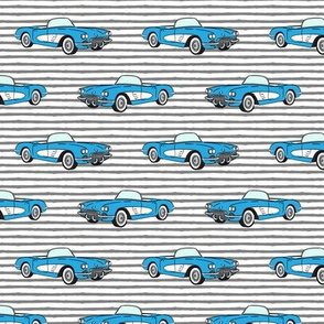 vintage convertible - blue on grey stripes
