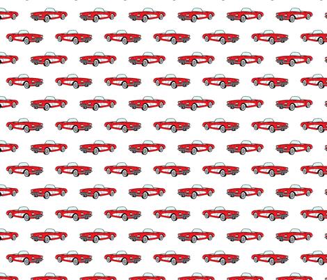 vintage convertible - red fabric by littlearrowdesign on Spoonflower - custom fabric