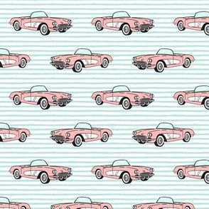 vintage convertible - pink on aqua