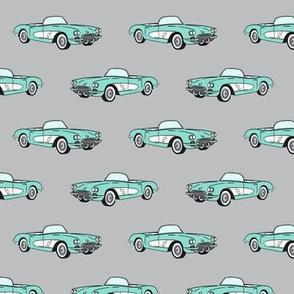 vintage convertible - aqua on grey