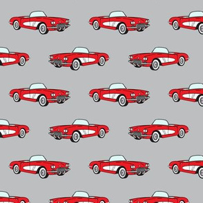 vintage convertible - red on grey