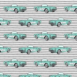 vintage convertible - aqua on grey stripes