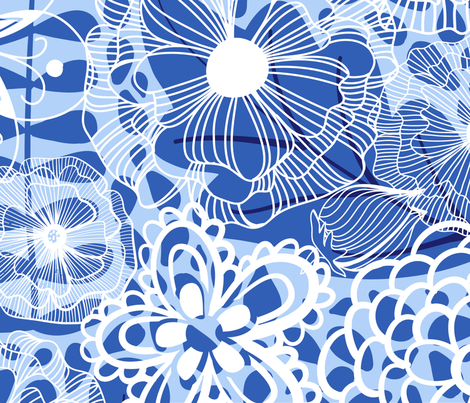 BlueLeaves&DoodleFlowers fabric by sarahjwhyte on Spoonflower - custom fabric