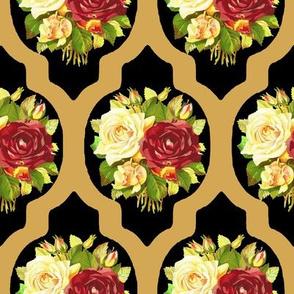 Vintage Rose Quartrefoil Black Gold