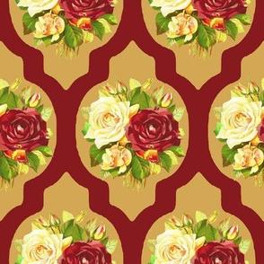 Vintage Rose Quartrefoil Burgundy Cream