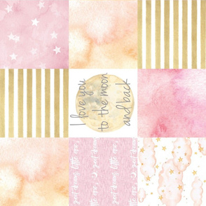 I Love You to the Moon and Back Wholecloth - pink and gold - RO