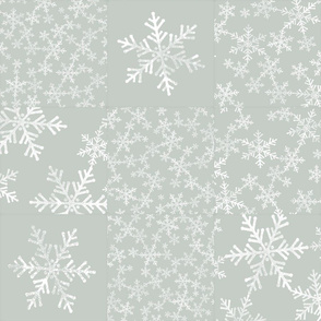 Gray Green and White Snowflakes / Christmas Wholecloth Cheater Quilt