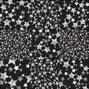 Black and White Magical Stars Wholecloth Cheater Quilt