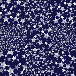 Dark Midnight Blue + White Magical Stars Cheater Quilt