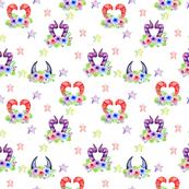 Floral Monster Horns w Stars