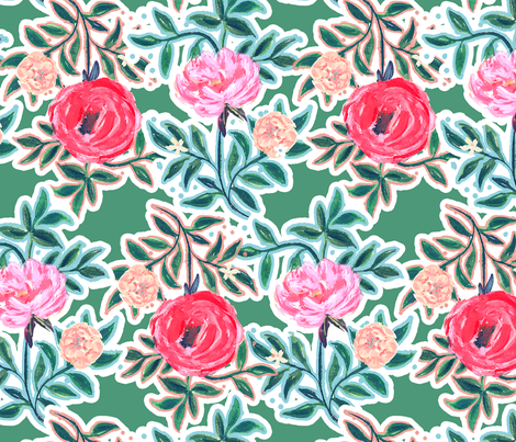Wildwood Floral Teal Xlarge fabric by jeanetta_gonzales on Spoonflower - custom fabric