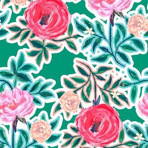 Wildwood Floral Teal Xlarge