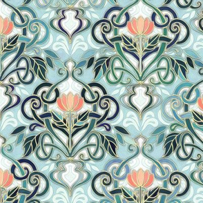 Sage and Blue Art Nouveau Pattern with Peach Flowers small print