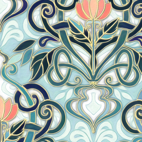 Sage and Blue Art Nouveau Pattern with Peach Flowers large print  fabric by micklyn on Spoonflower - custom fabric