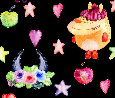 Cute Monster Pattern fabric by one_proud_grandma on Spoonflower - custom fabric