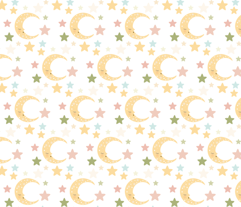 Moon n Stars fabric by one_proud_grandma on Spoonflower - custom fabric