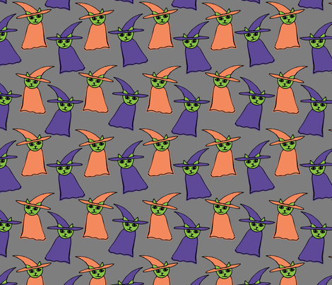 WitchyCatsPattern02 fabric by lisa_travis on Spoonflower - custom fabric