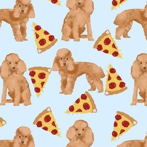 toy poodle fabric - toy poodle, cute poodle, pizza fabric, dog fabric, dog fabric by the yard, pizza fabric by the yard - light blue