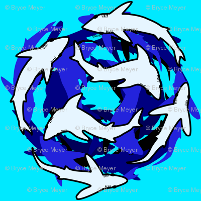 Abstract Deep Shark School on sea blue