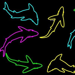 Abstract Neon Scattered Shark School